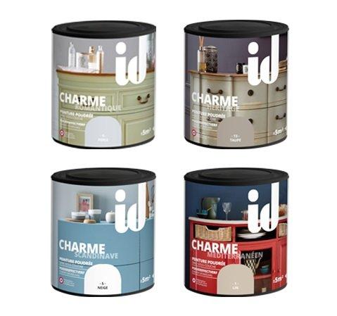 Pintura efecto empolvado charme para muebles, objetos y boiseries. Directo sobre la madera en bruto, pintada o barnizada. - color Perla - 500 ml -