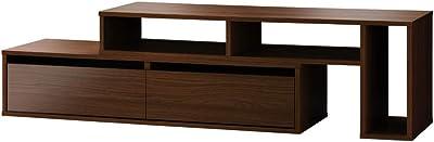 朝日木材加工 テレビ台 SW style 55型 幅139‐180㎝ ブラウン 収納付き 伸縮タイプ AS-SW1400-DB