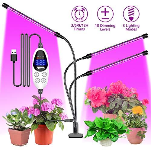 Aerb Pflanzenlampe,Pflanzenlicht Led Pflanzenlampe Wachstumslampe 3 Beleuchtungsmodi 6 Lichtstärken für Zimmerpflanzen Überwinterung