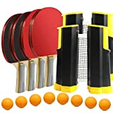 Professional Ping Pong Paddle Set Table Tennis with 2 Retractable Net (Bracket Clamps), Pack of 4 Premium...