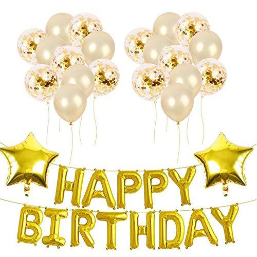Xinlie Decoración de la Fiesta de cumpleaños Feliz cumpleaños Decoraciones Globo de Látex Feliz Cumpleaños Estandarte Estrella Globo Perlado Globos para Decoración de Fiestas de Cumpleaños,Bodas