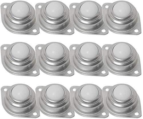 Set van 12 Caster Wielen, Swivel Castor Wiel, Nylon Ball Transfer Bearing Unit Werkbank Conveyor Ball voor Versnellingsbak, Meubilair en Rolstoel 25mm