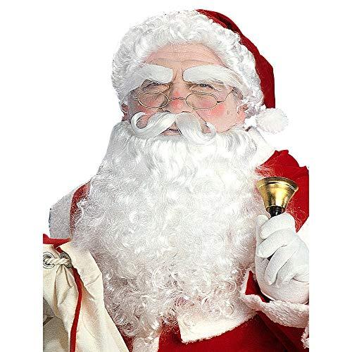 Widmann E1534 Luxe Kerstman pruik, baard en wenkbrauwen