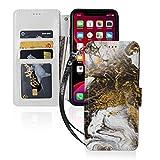 Schutzhülle für iPhone 11, PU-Leder, Geldbörsen-Stil, Acryl-Flow-Malerei, Goldfarben, Marmor, Ausweis, Bargeld, Kreditkartenfächer, Tragetasche, Folio-Tasche