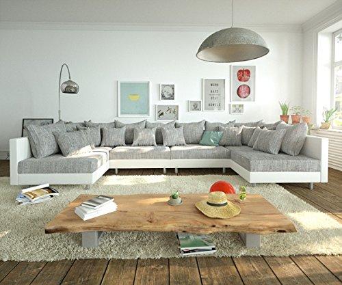 DELIFE Couch Clovis modular - Ecksofa, Sofa, Wohnlandschaft & Modulsofa (Grau/Weiss, Sofa XL)