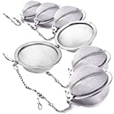 6 Pack Tea Strainer Infuser Ball - Stainless Steel Mesh Spoon for Leaves Herb Filter Fruit Squeeze