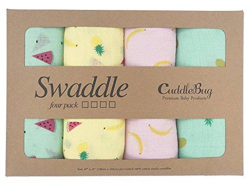 CuddleBug Musselin Swaddle Wickeldecke Baby 4er Pack - große Musselin Decken für Neugeborene - 120 x 120 cm - Weicher Baumwolle Größe Receiving Decken - für Jungen oder Mädchen (Tutti Frutti)