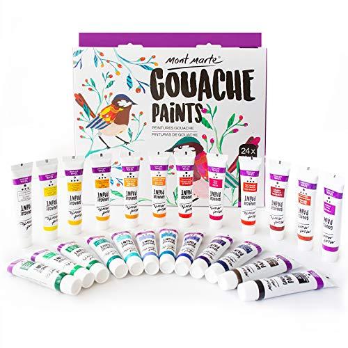 Mont Marte Gouache - 24 piezas, tubos de 12 ml - Ideal para pintar témpera - Colores brillantes y resistentes a la luz con gran opacidad - Ideal para Principiantes, Profesionales y Artistas