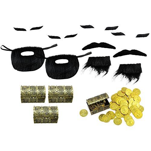 com-four® 48-teiliges Mitgebsel Set Piraten, Schatzsuche mit Münzen und Truhen, für Kindergeburtstage, Piraten-Party-Zubehör (Party-Mitgebsel - 048-teilig - f. 4 Kinder)