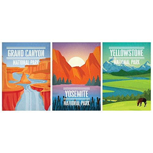 SCENE: YOURSELF Nationalpark Poster Natur Dekor Bergwand Dekor Vintage Poster 29,7 x 41,9 cm ungerahmt Papier Matte Laminierung Set von 3 Landschaft Poster Mehrfach