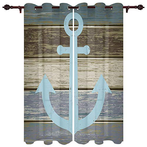 """Grey Anchor Sailing Life Window Curtains with Grommets Kitchen Drapes, Retro Wooden Stripes Grain 2 Panels Window Treatment Drapes for Living Room/Bathroom/Office 104"""" W x 96"""" L"""