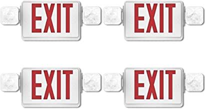 Sunco Lighting 4 Pack Double Sided LED Emergency EXIT Sign, Two LED Flood Lights, Backup Battery, US Standard Red Letter Emergency Exit Lighting, Commercial Grade, Fire Resistant