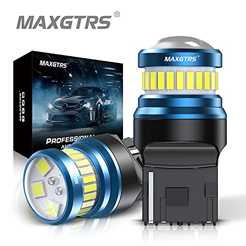 MAXGTRS W21W LED Bulbs 24-SMD 3014 Chip & 6-SMD 3030 Chip 7440 T20 LED Lamps 6000K Xenon White Use for Reverse Lamps Back Up Light Tail Light Turn Signals Brake Light