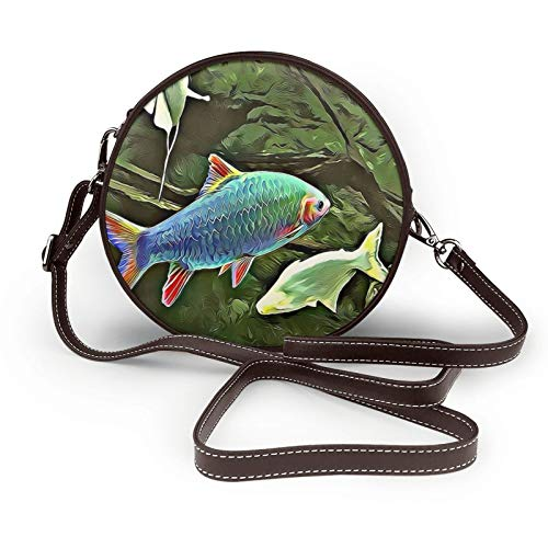 Fish Texture Design Decoration Modern Crossbody Bags Shoulder Round Bag For Women Circular Handbags Pu Leather Zipper Purse Personalized