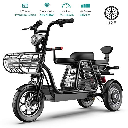 500W Electric Bikes for Adult 3 Wheel Mountain Electric Scooter 48V 8AH 12'' Electric Bicycle with Electric Lock Fast Battery Charger for Home Shopping Use,Black
