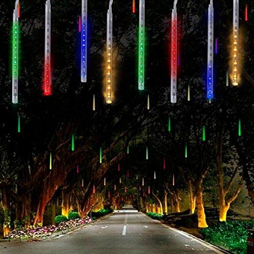 360LED Meteoritenschauer Lichterketten Garten,KINGCOO Wasserdicht 30cm 10 Tubes Fallende Regentropfen Solarleuchten Dekorative Lichtschläuche für Außen Party Hochzeit Weihnachtsbaum(Bunt)