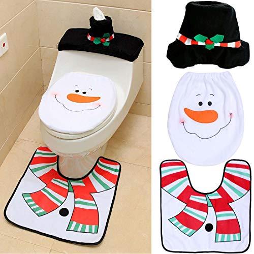 Suertree Christmas Decoration 3pcs Snowman Toilet Set Fundas de Asiento de Inodoro Decoración de baño Alfombra...