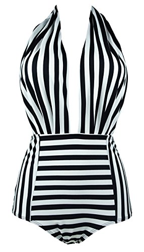 COCOSHIP Black & White Striped Retro One Piece Backless Bather Swimsuit High Waisted Pin Up Swimwear Monokini XXL(US12)