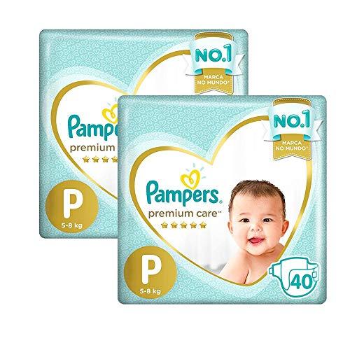 Kit fralda Pampers Premium Care Mega Tamanho P 80 Unidades