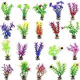 BETOY Plantas acuáticas Artificiales, 20 Piezas Plantas Grandes de Acuario Decoraciones plásticas del Tanque de Peces, Acuario Plantas de plástico Artificial decoración