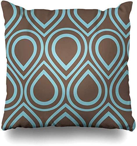 Fundas de almohada con forma de círculos, color azul, turquesa, marrón, turquesa, abstracto, verde azulado de los años 60 y 70 S, funda de cojín para decoración del hogar, 45 x 45 cm