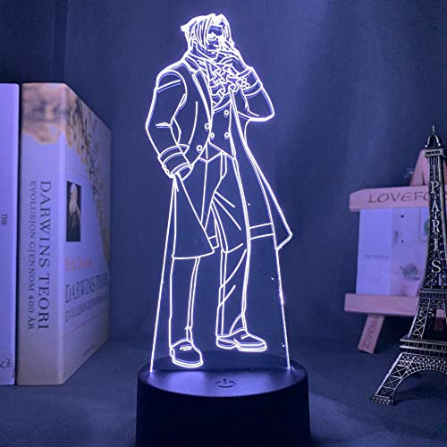 Lámpara de noche 3D Anime Illusion lámpara Anime Ace Abogado Miles Edgeworth LED luz nocturna para dormitorio, decoración de cumpleaños, lámpara de noche Miles Edgewauth Light Gadget ZMSY