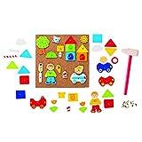 Goki- Puzzles De Madera Martillo Y Set De Clavos, Ciudad, Multicolor (Gollnest & Kiesel 58556.0)