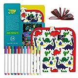 QUCHENG Juguete de Dibujo de Graffiti Lavable Reutilizable, Libro de Tela portátil sin Tiza para niños, Libro de Pizarra de Graffiti de Escritura de Pintura mágica para niños (Dinosaurio Trompeta)