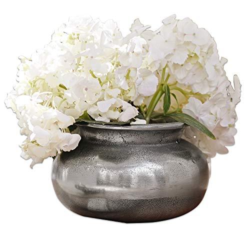 Loberon Vase Hadrien, Aluminiumguss, H/Ø ca. 10/16 cm, antiksilber