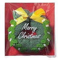 【クリスマスリースタオル/100枚セット】プレゼント/ハンドタオル/ハンカチ/ラッピング