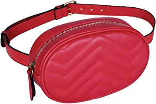 Geestock Women Waist Bags Waterproof PU Leather Belt Bag Fanny Pack Crossbody Bumbag for Party, Travel, Hiking (Red)