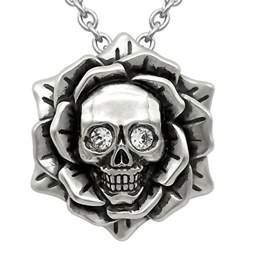 Skull Rose Birthstone Necklace with Swarovski Crystal 17' - 19' Adjustable Chain (04-April – Clear)