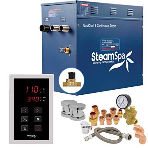 SteamSpa Premium 12 KW QuickStart ACU-Steam Bath Generator Package with Built-in Auto Drain in Polished Chrome   Steam Generator Kit with Touch Screen Auto Drain Steamhead 240V 38A   PRT1200CH-A