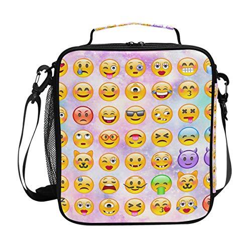 Galaxy Universe Emoji Bolsa térmica para almuerzo para mujeres, hombres, bolsa de almuerzo, bolsa de hombro, organizador de alimentos para niños, escuela, picnic, playa, oficina, trabajo