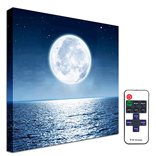 Moon Painting Led Wall Decor - Illuminated Lighted Wall Art Blue Ocean Sea Picture Star Cloud Canvas Print Poster Space Themed Bedroom Kitchen Bathroom Girls Boys Room Decorations 11.6x11.6inch Framed
