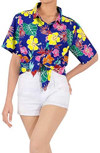 LA LEELA Camisa Hawaiana para el Vestido de Las Mujeres hasta el botón Azul_AA192 M - ES Tamaño :- 44-46