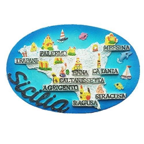 Imán para nevera 3D de Sicilia con mapa de Italia, decoración para el hogar y la cocina, pegatina magnética para manualidades, imán para nevera de Sicilia Italia