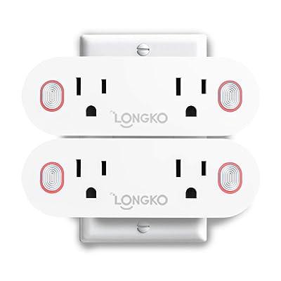 LONGKO 2-in-1 WiFi Smart Plug, Dual Mini Outlet...