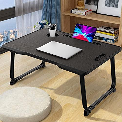 Tavolino Pieghevole per laptop, KELOFO Portatile Scrivania per Computer Portatile con Portabicchieri  Porta tablet  Maniglia (60*40 cm, Nero)