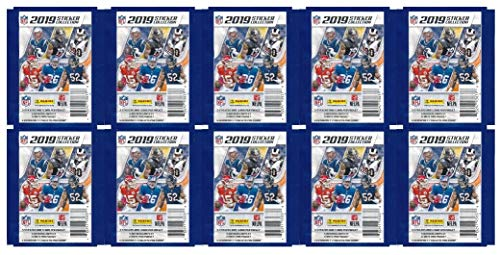 2019 Panini NFL Football Stickers Collection of 10 Factory Sealed Sticker Packs with 50 MINT Stickers & 10 Cards! Look for Cards & Stickers of Patrick Mahomes, Tom Brady, Kyler Murray & More! WOWZZER!