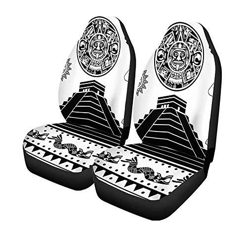 Beth-D set van 2 autostoelhoezen Mayan van American Ornaments op White Aztec Temple Universal auto voorstoelen protector 14-17IN