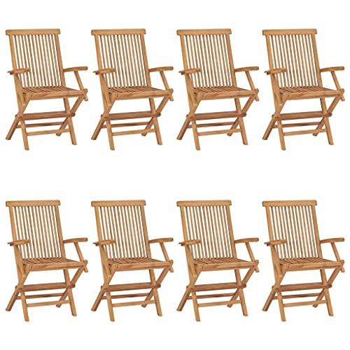 vidaXL 8X Madera Maciza de Teca Sillas de Jardín con Reposabrazos Sillón Exterior Terraza Balcón Patio Butaca Asiento Muebles Mobiliario Duradera