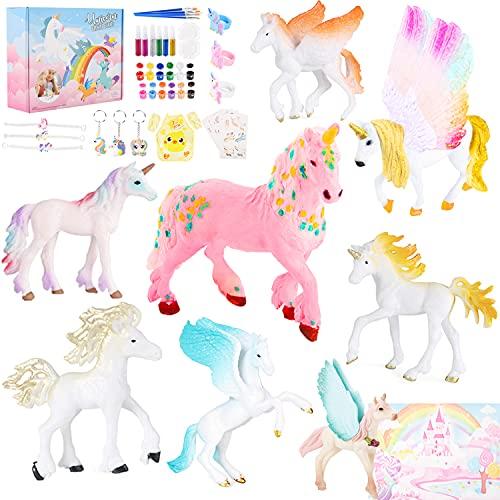 Ulikey 52 Stück Einhorn Bemalen Kinder, DIY Einhorn Färbung Handwerk Set, Kreatives Spielzeug Geburtstag Einhorn Spielzeug für Kinder Mädchen, mit Pinsel, Pigment, Palette