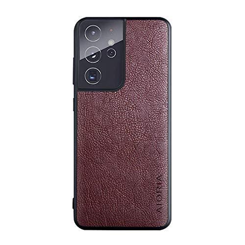 Galaxy S21 Ultra 5G ケース レザー調&TPUカバー スリム シンプル サムスン ギャラクシー S21ウルトラケース アンドロイド スマフォ スマホ スマートフォンケース/カバー[Galaxy S21 Ultra 5G(コーヒー)]
