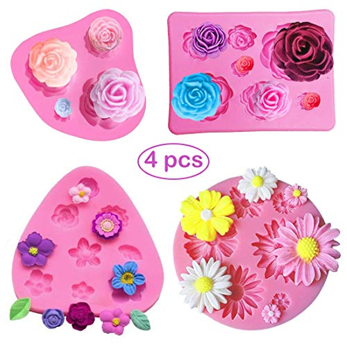 SUNSK Silicone Fondant Cake Moulds 3D Rose Flowers Molds Daisy Mold DIY Soap Jelly Ice Cake Chocolate Sweet Moulds Silicone Baking Molds Decorating Tools 4 Pieces