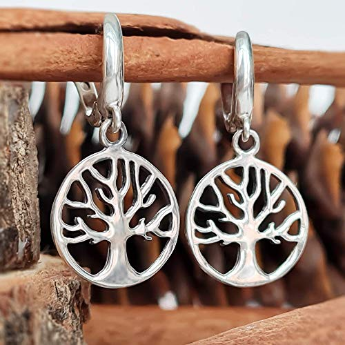 Celtic Tree of Life Small Dangle Earrings - 925 Sterling Silver Rhodium-plated - Family Amulet Viking Yggdrasil - Norse Buddhist Jewelry Gift for Women Girls Yoga Lovers/Handmade