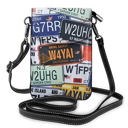 HYJUK Handy Umhängetasche Nummernschild Frauen Pu Leder Mode Handtasche mit verstellbarem Riemen