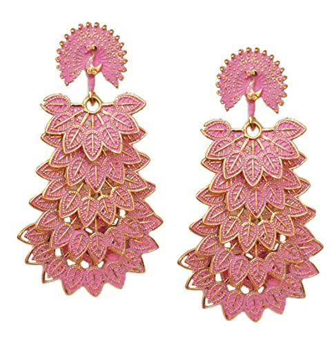 Pahal tradicional Jaipur rosa capas largas oro Jhumka pendientes pavo real del sur de la India Bollywood ropa de fiesta joyería para mujeres