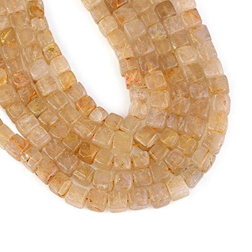 Vatslacreations 20CM Natural Dorado Rutilo Cuarzo 5x5MM Oro Amarillo Rutilado Cuarzo Perlas de Oro Rutilo Caja Cubos