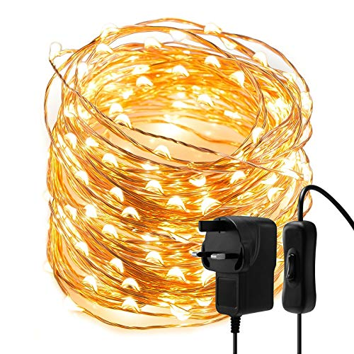 Fairy Lights LED String Lights - 10M 100 LEDs Warm White Copper Wire String Lights Mains Powered, Waterproof Garden Fairy Light Plug in for Party, Wedding, Christmas, Bedroom, Indoor, Outdoor